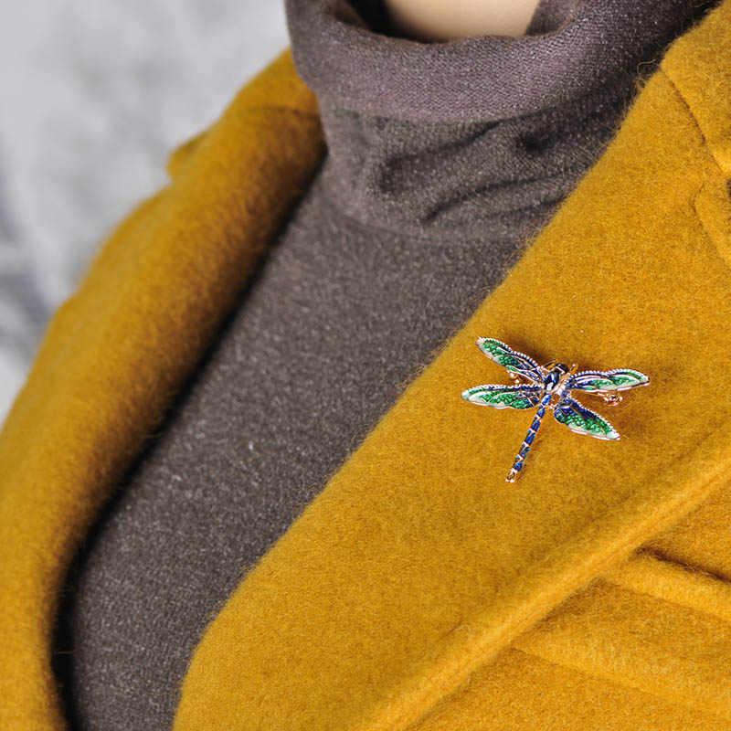 Blucome Vivid Verde Dello Smalto Libellula Fly Spille in Lega di Zinco Spilla Insetto Spilli per Le Donne I Bambini Cappotto Abbigliamento Accessori Gioielli