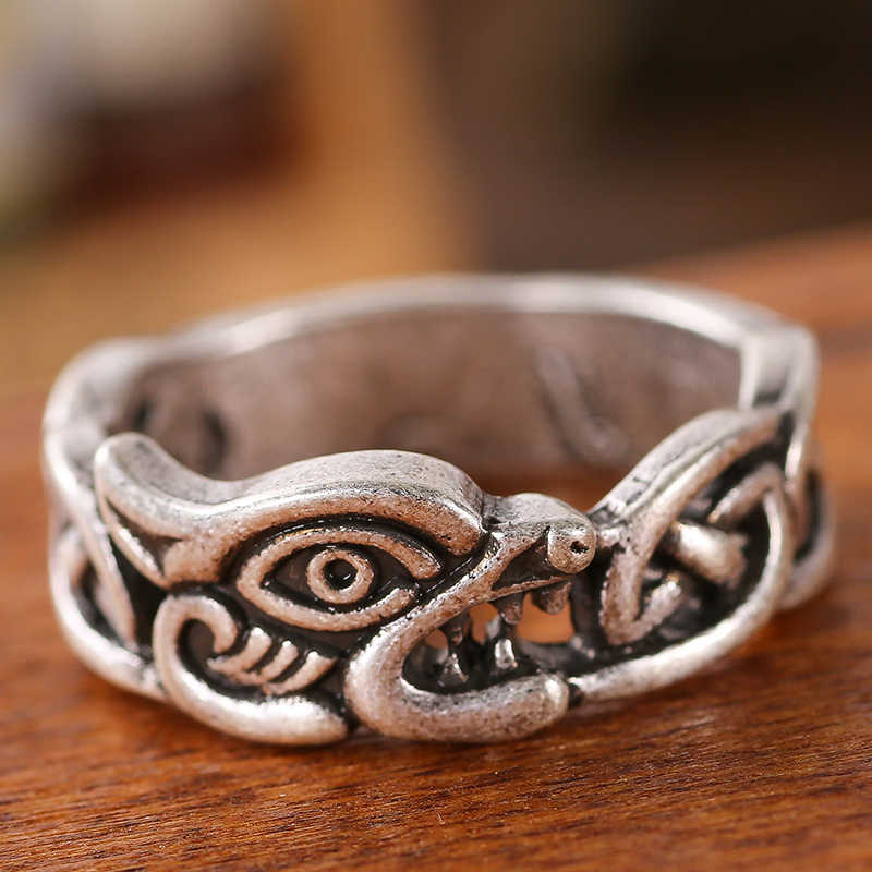 Pria Cincin Norse Viking Pagan Naga Rune Perhiasan DROP Shipping 1 Pc