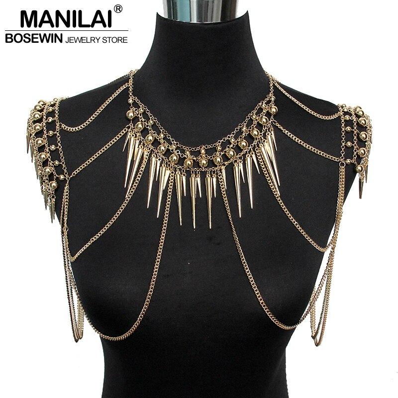 MANILAI Punk Type Femmes Sexy bijoux de corps Multi Couches Nail Pendentif Gland colliers de chaîne Vintage Déclaration Accessoires Collier