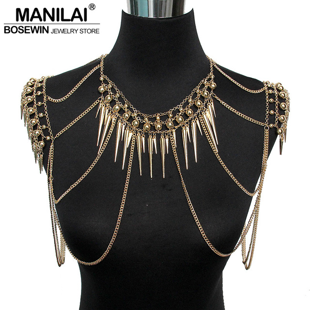 MANILAI Punk Type Women Sexy Body Jewelry Multi Layers Nail Pendant Tassel Chain  Necklaces Vintage Statement 7f0aea4d1ad