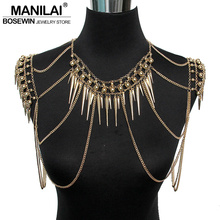 MANILAI Punk Type Women Sexy Body Jewelry Multi Layers Nail Pendant Tassel Chain Necklaces Vintage Statement Accessories Collier