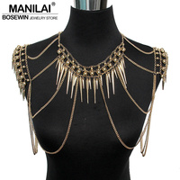 Punk Type Women Sexy Body Jewelry Multi Layers Nail Pendant Tassel Body Chains Necklaces Vintage Accessories