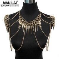 Manilai панк Тип женские сексуальные тела многослойная бижутерия кулон ноготь кисточкой цепи ожерелья винтажные массивные аксессуары колье