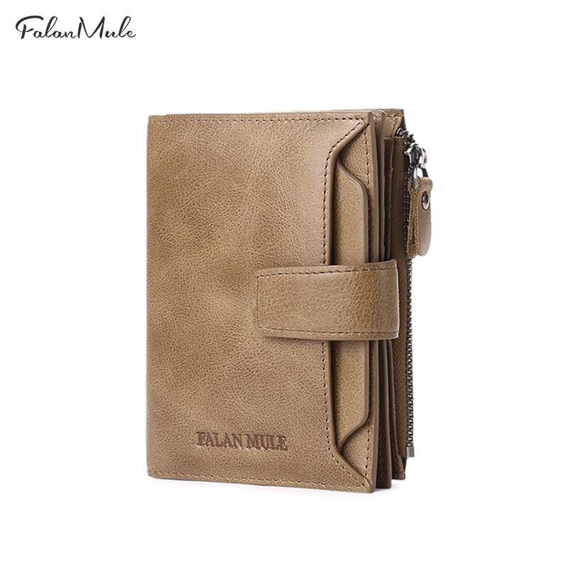 Falan Mule Hot Sale Wallets Man Short Genuine Leather Card Holder Hasp Mini Purse Folding Designer Coin Bag Male Wallet 1342-70 Кошелёк