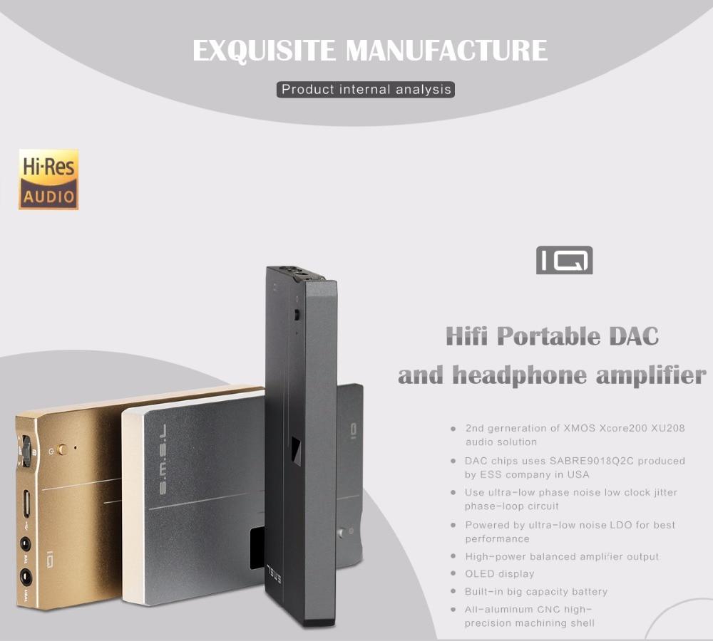 SMSL IQ Hifi Headphone Amplifiers Portable SABRE9018Q2C DAC Headphone  Amplifier USB Headphone Amp DSD512
