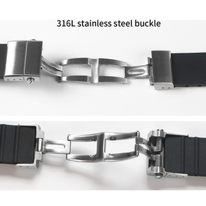 Image 5 - Pulseira de silicone de borracha para aquis, pulseira dupla para oris watch, mergulho, esporte, pulseira preta para aquis 24*11mm fivela com fivela
