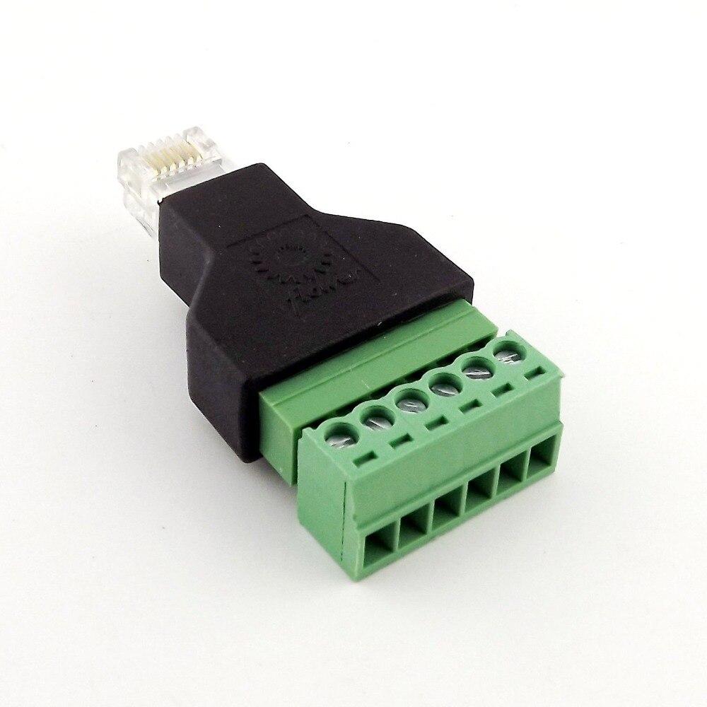 20x Ethernet 6P6C RJ12 prise mâle modulaire 6Pin vis Terminal connecteur adaptateur téléphone ligne adaptateur