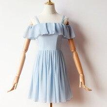 Women Wedding Party Dress  Bridemaid Blue Mini Chiffon