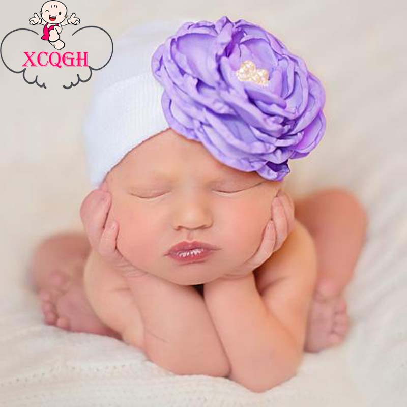 XCQGH Newborn Beanie Hat Elastic Striped Baby Hats Cotton Floral Pearl Hats Infant Kid Child Knitted Bonnet Caps For 0-6Months