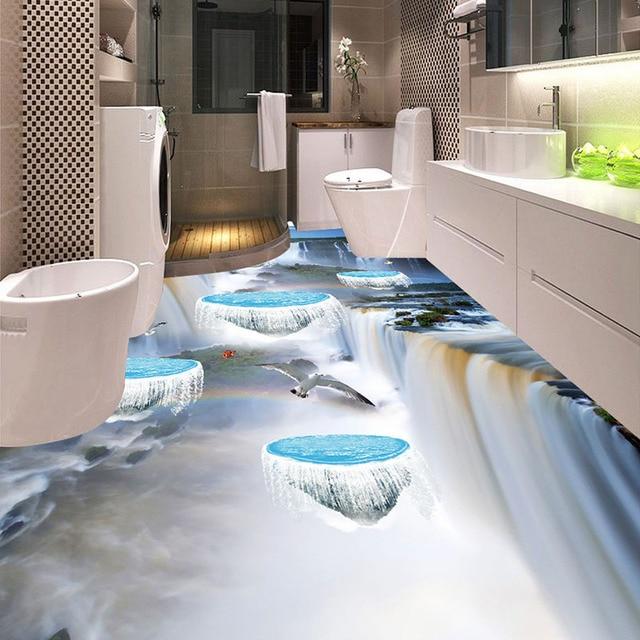 Bad Bodenbelag benutzerdefinierte bodenbelag fototapete 3d pvc bad wasserdichte