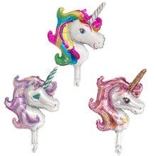 Free Shipping 1PC Mini Unicorn Party Foil Balloon Unicornio Air Globos Wedding Birthday Decorations Kids Toy Supplies