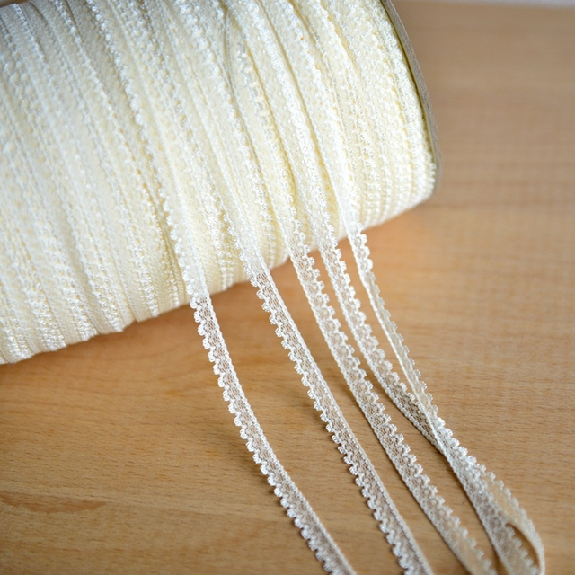 Promotion! 60m/lot 0.7cm beige/white 2color available small size polyester DIY lace trim lace ribbons, free shipping W045