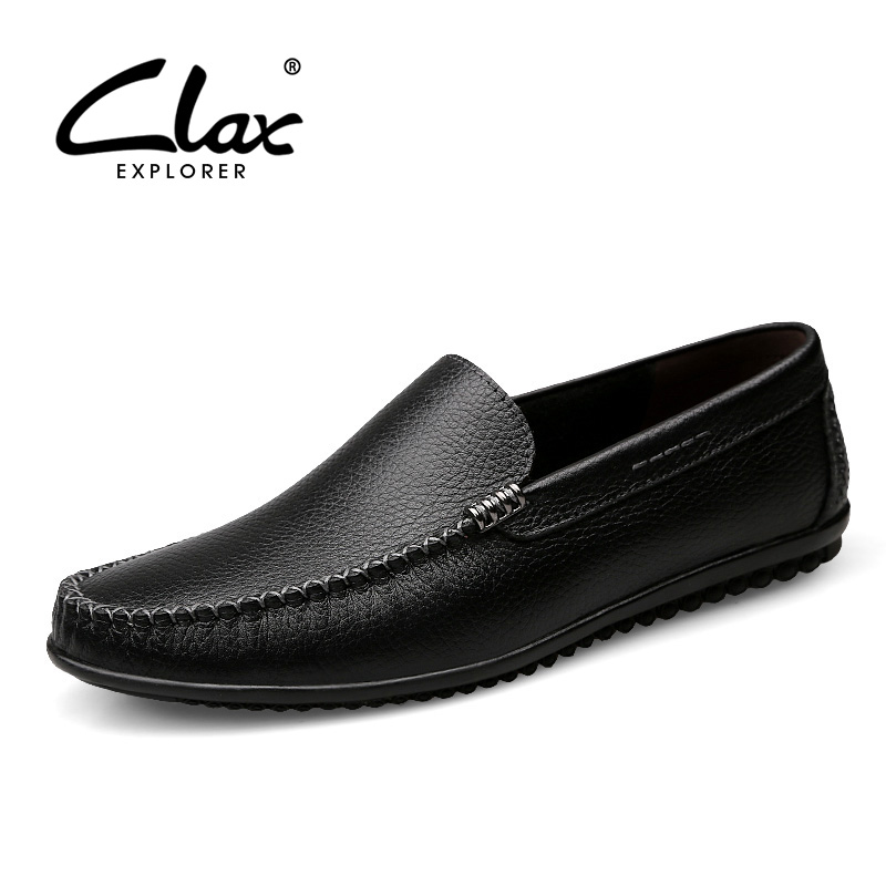 CLAX Mens Leather Shoes Slip on Summer Autumn Casual Loafers Male Breathable Boat Shoe Genuine Leather