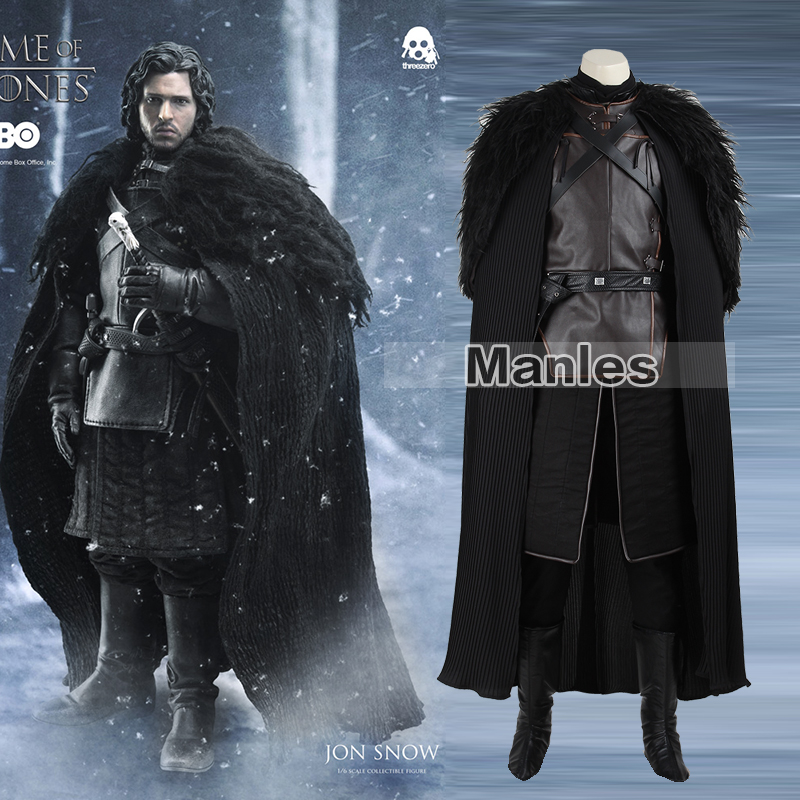 Game of Thrones Costume Jon Snow Costume Outfit With Coat Halloween Clothing Ault Men Cosplay Costume Full Set Exotic Apparel