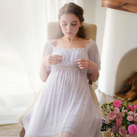 RenYvtil Ladies Sleepwear Elegant Women Pink Lace Nightdress Home dress Gauze Feminine Long Nightgown S M,L,XL Recycled fiber