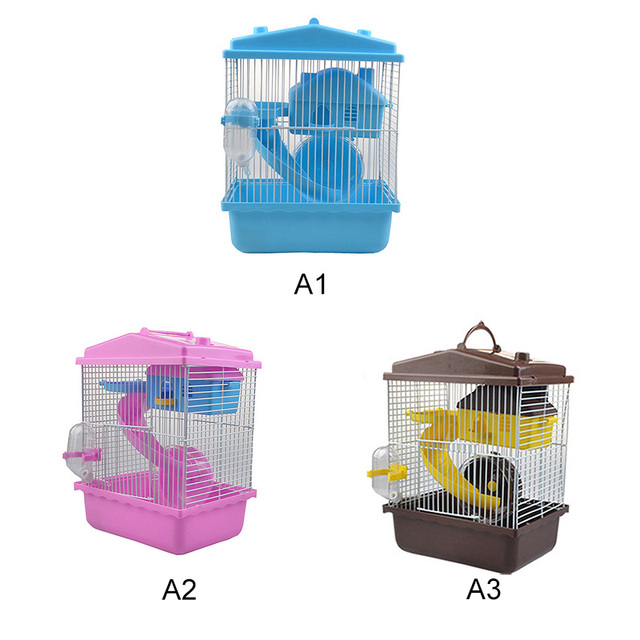 Pet Cage Hamster Pet  Hamster Cottage Transparent Skylight Double Layer  Luxury House Portable Mice Home Habitat Decoration 5
