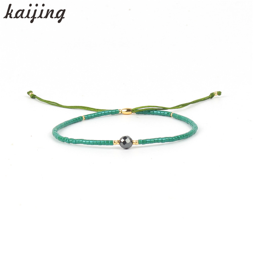 KaIJING Jewellery Soft Silk String Chain Fantastic Green Beaded Handmade DIY Friendship Bracelet Customized Style Wholesales
