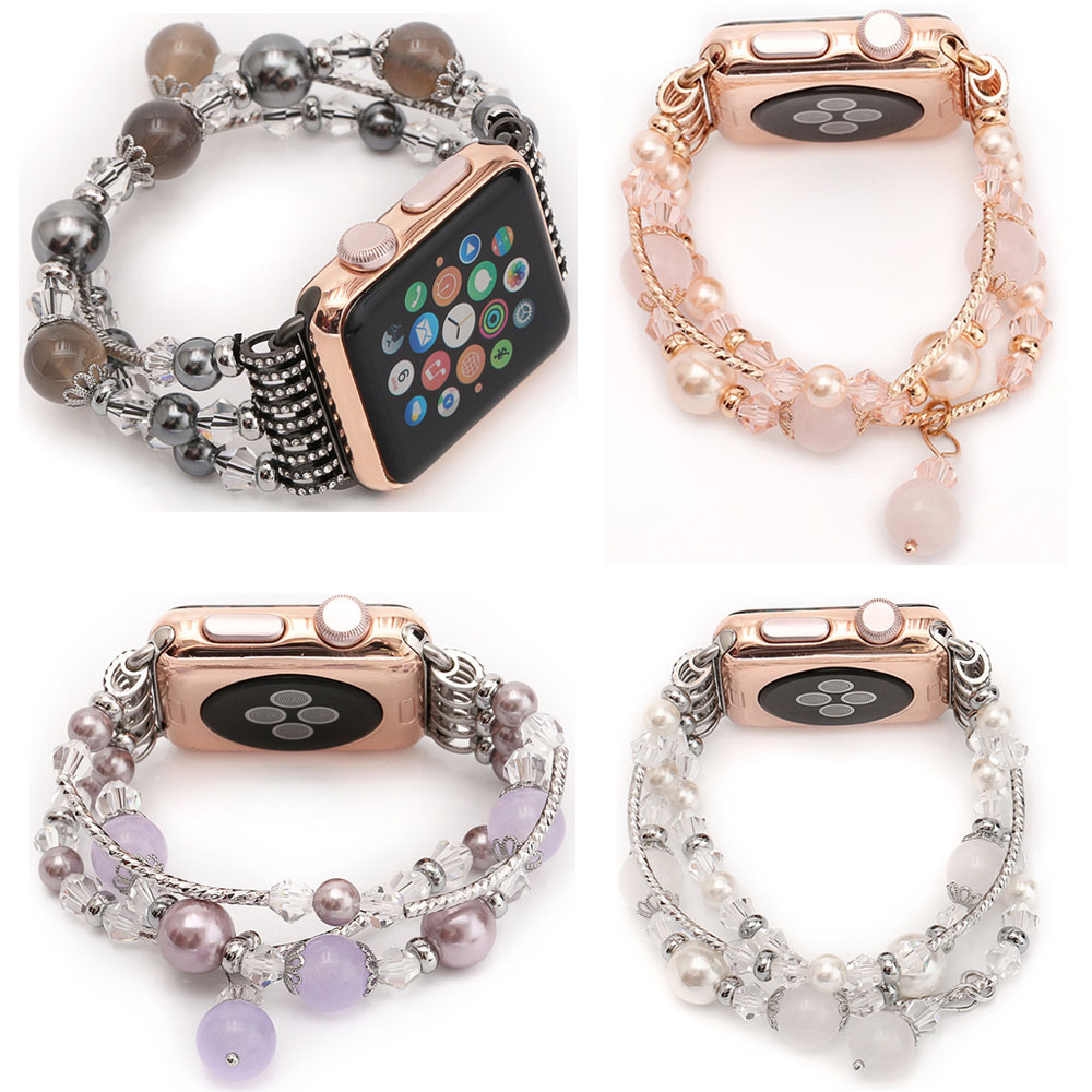 DAHASE Agate Beads Pearl Bracelet Strap for Apple Watch Series 2 3 1 Band for iWatch Women's Watchband with Adapters 42mm 38mm
