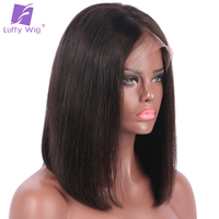 Luffy Non Remy Deep Parting Lace Front Wigs Peruvian Human Hair Short Bob Cut 180 Density