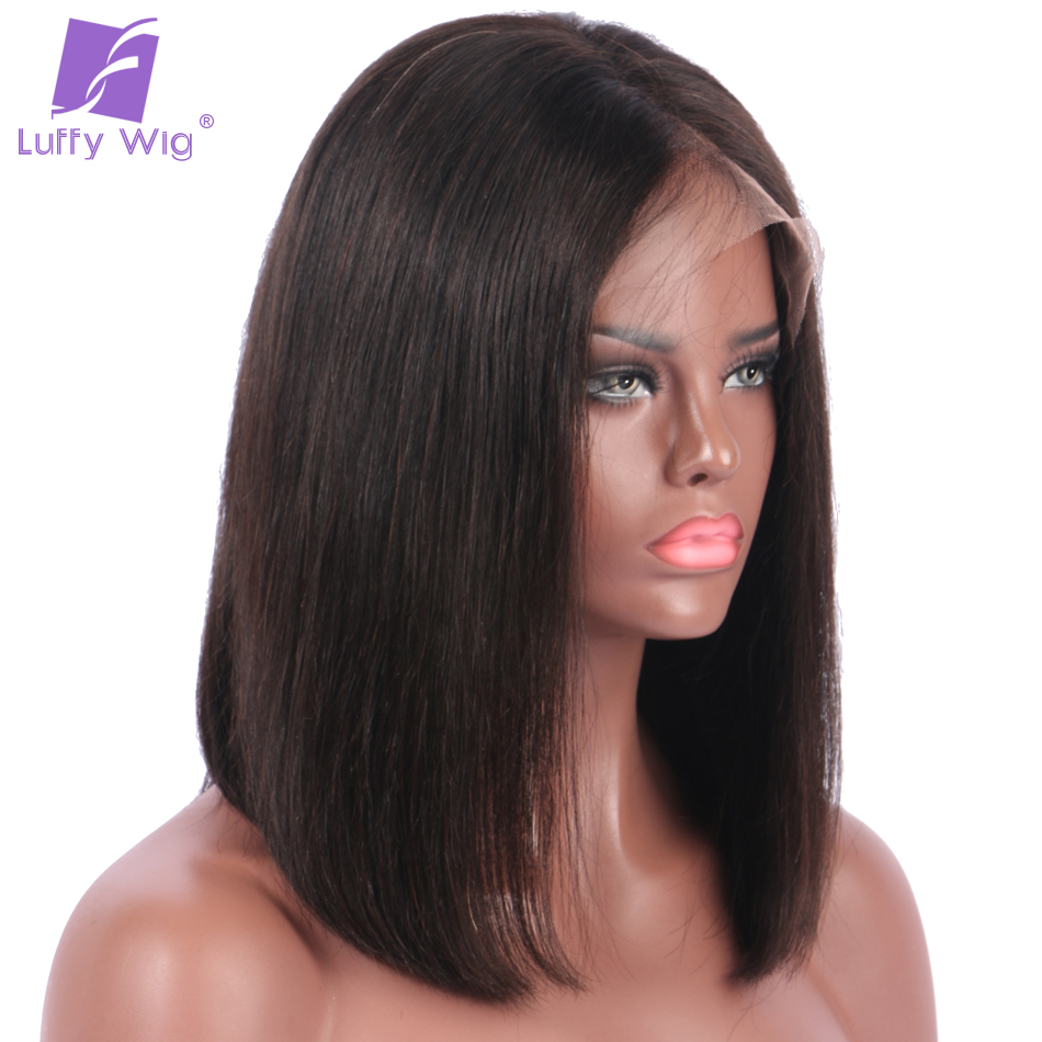 Luffy 180% Density Short Bob Lace Front Wigs Deep Parting Straight Peruvian Human Hair Non-remy Natural Color For Black Women