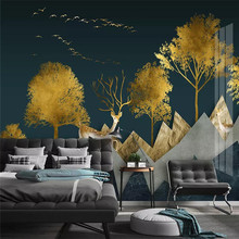 3d wallpaper mural living room tv home decor painting art design abstract geometric golden forest elk background wall все цены