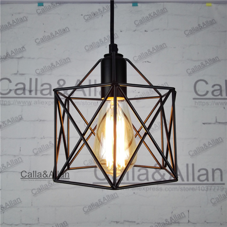 American Loft Vintage pendant light Personality Wrought Iron lights Edison nordic lamp industrial cage lamp lighting fixtures loft industrial rust ceramics hanging lamp vintage pendant lamp cafe bar edison retro iron lighting