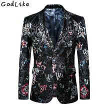 2018 Men's Slim Fit Printed Blazer and Flower Suit Jacket Big Sizes 6XL 5XL Brand Clothing Mens Casual Floral Party Blazers