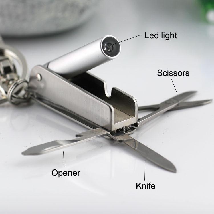 bottle opener scissors knife multifunctional keychain innovative waist hanging car keychain LED light key chain llaveros hombre недорго, оригинальная цена