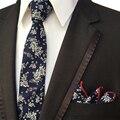 Puntos florales Pañuelo Corbata Establece Moda Mantieqingway Marca Lazos para Los Hombres Para Hombre Flaco Flaco Corbata Boda Lazo de Algodón Conjunto