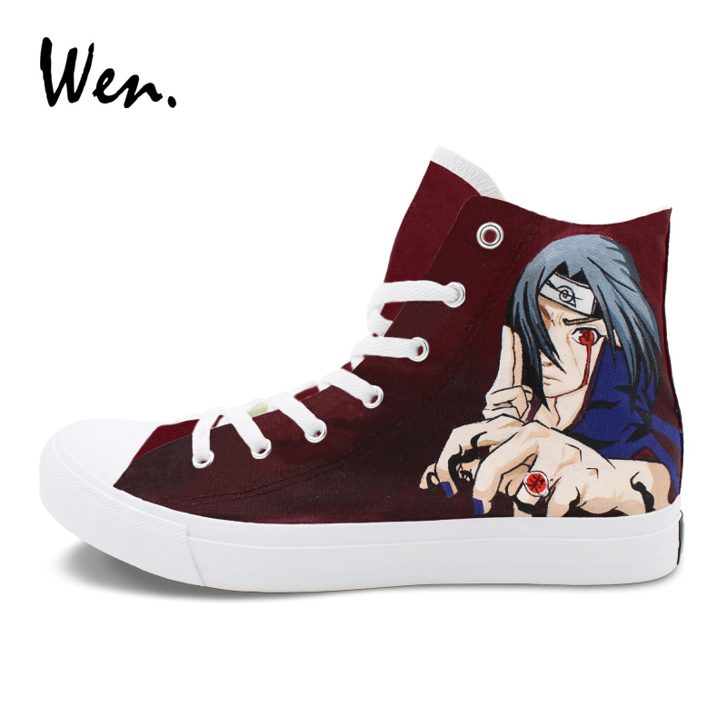 Wen Hand Painted Sneakers Custom Design Naruto Minato Itachi Canvas Graffiti Shoes White High Top Men Women Athletic Sneaker wen design custom hand painted anime shoes grimgar of fantasy and ash high top women canvas sneakers men athletic skate shoes