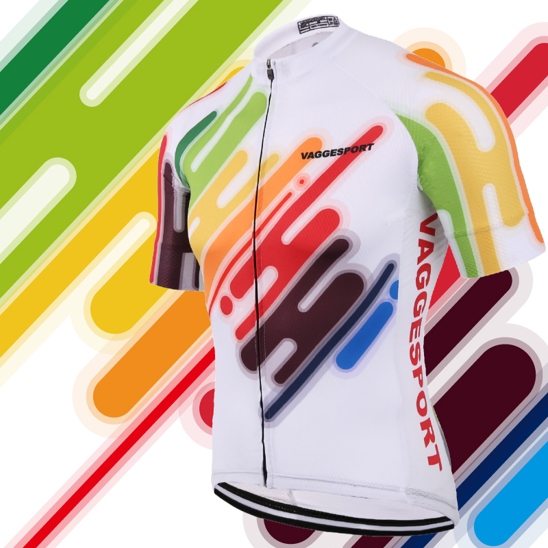 2019 Farverig Unik Cykling Jersey Anti-Uv Gratis Outdoor Racing Cykelcykler Shirts Cool Breathable Full Zipper Bike Jersey