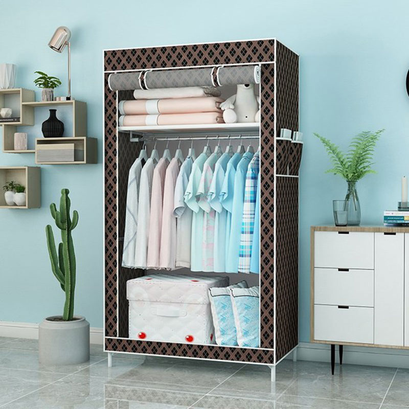 Student Single Cloth Wardrobe Folding Bedroom Small Closet Space Save Clothes Storage Cabinet With Three Curtain Design