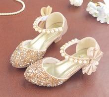 2019 dzieci sandały dzieci klamra ze skóry PU pasek księżniczka buty dla dziewczynek brokat Bowtie sandały na wysokim obcasie party buta prezent