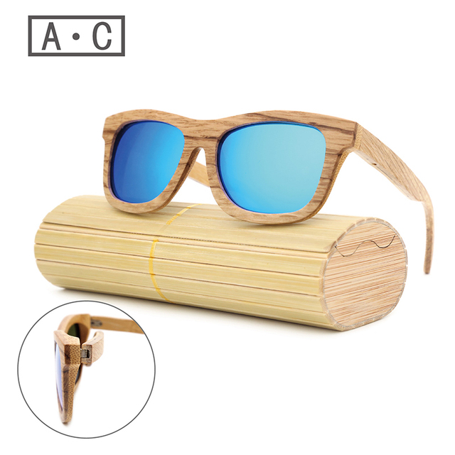 A.C2017 New Fashion Products Men Women Glass Wood Polarized Sunglasses Retro Wood Lens Wooden Frame Handmade