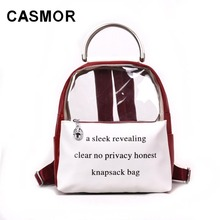 75649c16f3 CASMOR Clear Transparent Women Backpack Mini Cute Bookbag For Girl Fashion  Brand Teenager School bag Small Female Backpacks-in Backpacks from Luggage    Bags ...