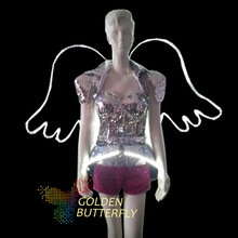 LED Clothing Lady Clothes 2015 New Fashion Glowing Angle Wing Women Bra Shorts Alice shoulder Armor Suits Ballroom Dance Dress