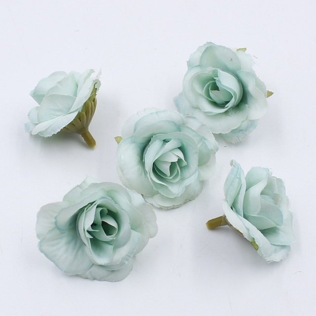 10 pcs 4cm Silk Rose Artificial Flower Wedding Leaves Decoration Items Wreath DIY Handicraft Flowers Fake Simulation Cheap 2