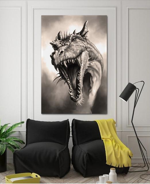 Roaring Dragon Art Drawing KD306 Living Room Home Wall Art Decor Wood Frame  Fabric Posters Print