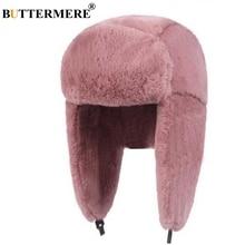 BUTTERMERE Fur Caps Women Bomber Hats Pink Winter Hat Russian Female Thicker Warm Solid Soft Windproof Ear Flap Ushanka Hat 2019