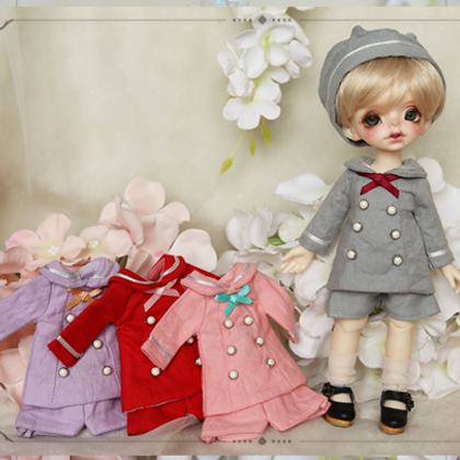 NEW 1/8 Blythe BJD Doll Clothes Lovely Purple/Red/Gray college Suit (4pcs) BJD Doll Clothes handsome grey woolen coat belt for bjd 1 3 sd10 sd13 sd17 uncle ssdf sd luts dod dz as doll clothes cmb107