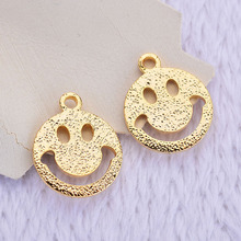 (195) 20PCS 10x12MM 24K Gold Color Brass Smile Pendants Charms High Quality Diy Jewelry Findings Accessories