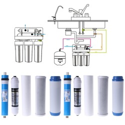 10 Five-stage Reverse Osmosis Filter PP Cotton+UDF+Reverse Osmosis& Rear Activated Carbon+Compression Carbon Strainer Set