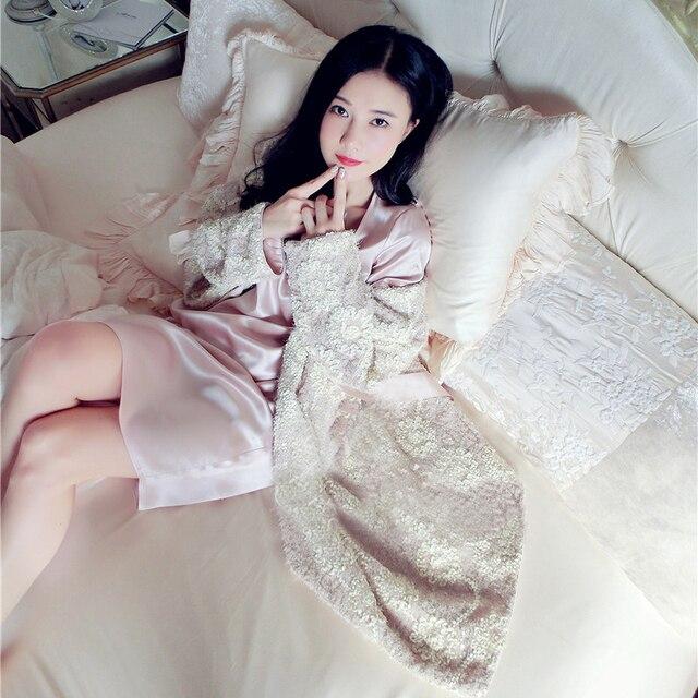 Новый Бесплатная Доставка 2016 Новая Зимняя Принцесса Ночной Рубашке женские Зимние Длинный Халат Розовые Шарики Вышитые Пижамы