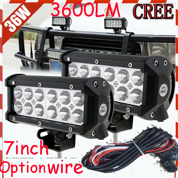 Free DHL/UPS/FEDEX ship! 7 36W,3600LM,10~30V,6500K,LED working bar;led offroad bar,Option wire harness,4x4,LED bar light free dhl ups fedex ship 41 150w 13000lm 10 30v 6500k led working bar led offroad bar option wire harness suv led bar light