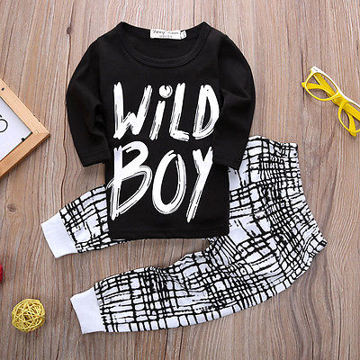 New Fashion Summer Boys Clothes Newborn Baby Kids Boys Wild Boy Letter Long Tops + Plaid Pants Outfits Sets 0-2Y newborn kids baby boy summer clothes set t shirt tops pants outfits boys sets 2pcs 0 3y camouflage