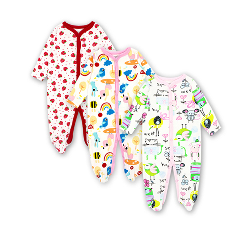 Newborn Toddler Infant New Born Baby Girl Boy Jumpsuit Long Sleeve Cotton 3 Pieces 0-12 Months Cartoon Printed Clothes