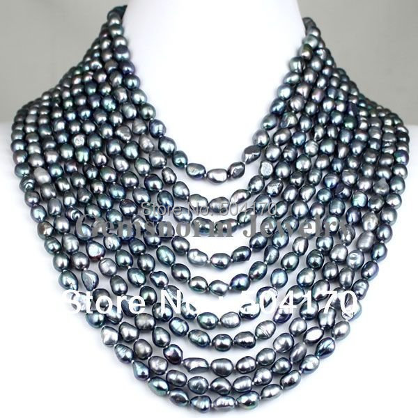 """High Quality FPN0139 17-26"""" 10 offers Black Baroque Pearl Necklace Wholesale Free Shipping"""