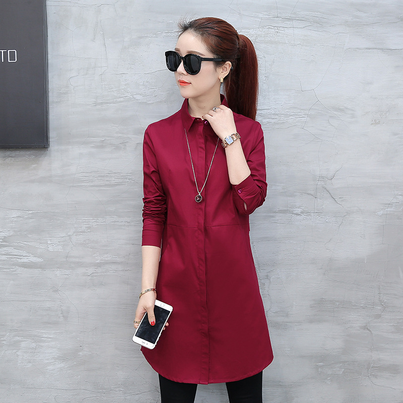 Autumn blouse shirt for woman Women Long White Shirts All-match Good Quality blusa feminina Lady Casual Cotton Blouse & Tops