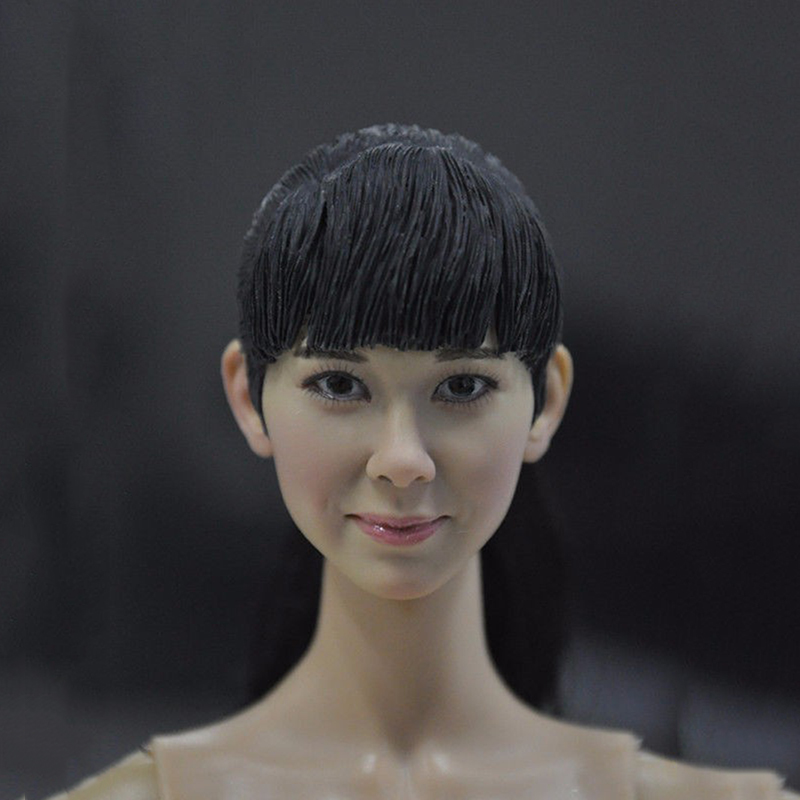 ФОТО Popular TOYS 1/6  Asia Girl Black Long Hair Female Head Sculpts No.15-25 CY GG Model Toys For 12