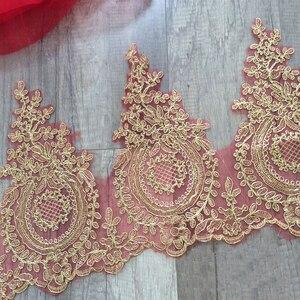 Image 3 - רקום טול רשת תחרה לקצץ זהב מתכתי חוט מלא שמלת תחרה זמירה זהב תחרה גבול פתול תחרה לקצץ 3 מטרים /הרבה